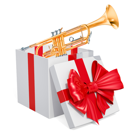 Gift box with trumpet, 3D rendering isolated on white background Фото со стока