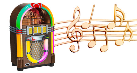 Musical concept. Jukebox with music notes, 3d rendering isolated on white background Foto de archivo - 109740319