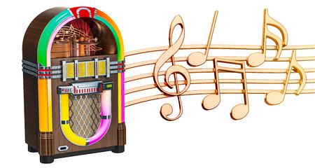 Muzikaal concept. Jukebox met muzieknota's, het 3d teruggeven op witte achtergrond wordt geïsoleerd die