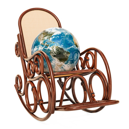 Rocking chair with Earth Globe, 3D rendering isolated on white background