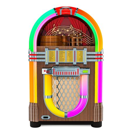 Vintage jukebox vooraanzicht, 3D-rendering geïsoleerd op een witte achtergrond Stockfoto