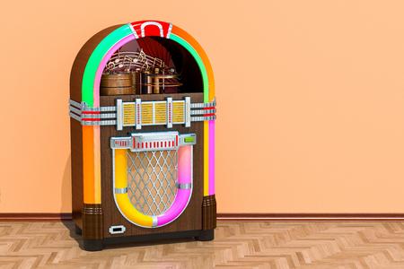 Vintage jukebox in kamer op de houten vloer, 3D-rendering Stockfoto