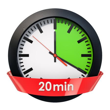 Esfera de reloj con temporizador de 20 minutos. Representación 3D aislada en el fondo blanco