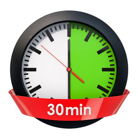 Clock face with 30 minutes timer. 3D rendering isolated on white background