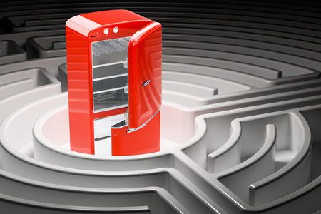 Path to healthy nutrition concept. Refrigerator inside maze, 3D rendering Фото со стока