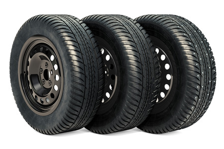 Car wheels with winter and summer tires. 3D rendering