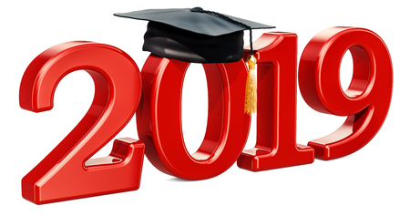 Graduate 2019, red inscription. 3D rendering