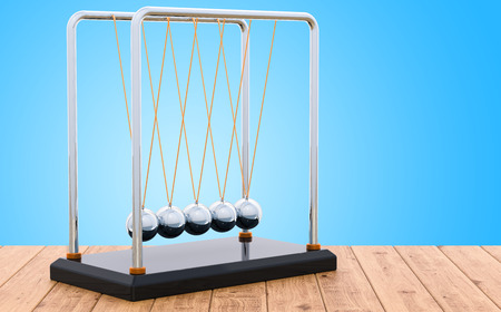 Pendulum, Newtons cradle on the wooden table, 3D rendering