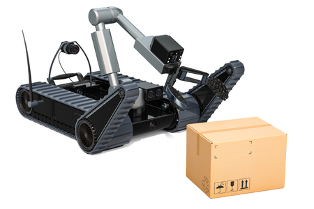 Bomb disposal robot with dangerous cardboard box, 3D rendering isolated on white background Stock Photo