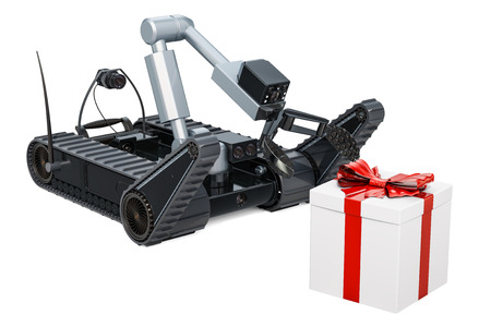 Bomb disposal robot with dangerous gift box, 3D rendering isolated on white background