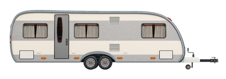 Caravan, camper trailer. 3D rendering isolated on white background