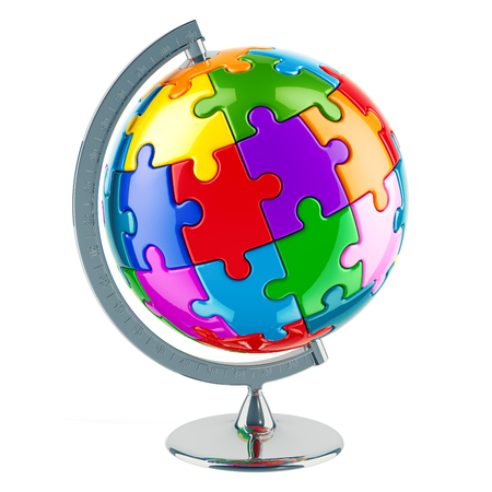 Geographical globe of planet Earth from colored puzzles. 3D rendering isolated on white background Stock Photo