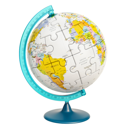 Geographical globe of planet Earth from puzzle. 3D rendering isolated on white background