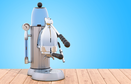 Manual coffeemaker or coffee machine retro design on the wooden table. 3D rendering Stock Photo