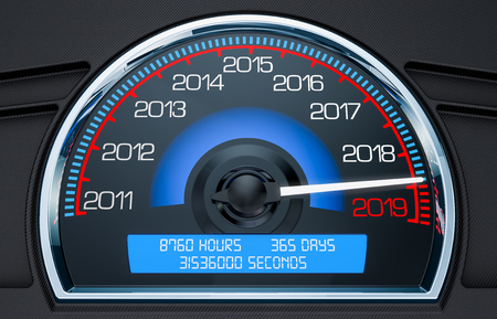 Speedometer 2019 New Year concept, 3D rendering
