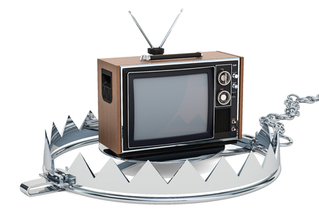 TV set inside bear trap. TV dependence concept, 3D rendering isolated on white background Standard-Bild - 110810766
