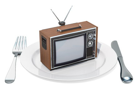 TV set on a plate. TV dependence and brainwash concept, 3D rendering isolated on white background