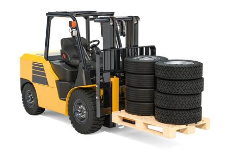 Forklift truck with truck wheels. 3D rendering isolated on white background