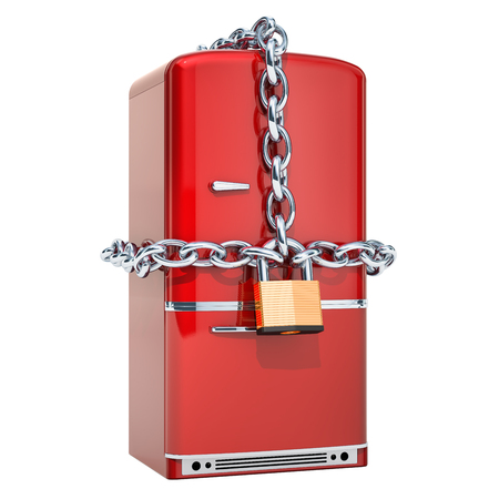 Fridge with chain and padlock, diet concept. 3D rendering isolated on white background