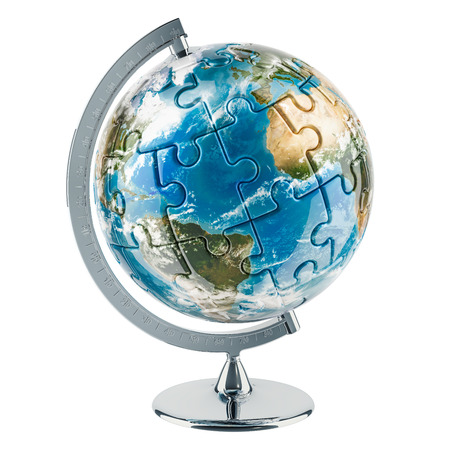 Geographical globe of Earth from puzzle. 3D rendering isolated on white background