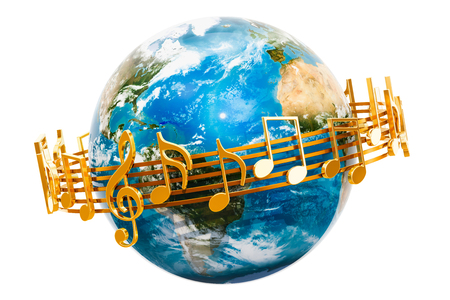 Earth Globe with musical notes around, 3D rendering isolated on white background