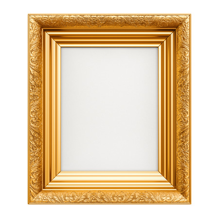 Golden Picture Frame, 3D rendering isolated on white background