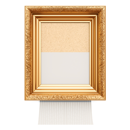 Picture frame with shredder, 3D rendering isolated on white background