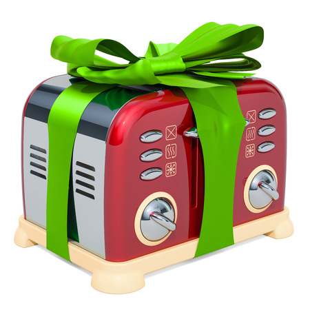 Toaster, retro design with green ribbon and bow. 3D rendering isolated on white background