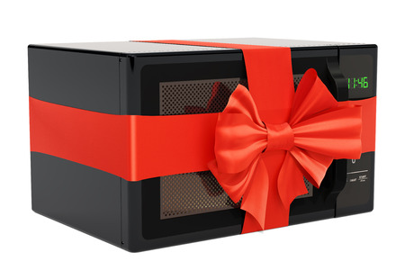 Microwave oven with ribbon and bow, gift concept. 3D rendering isolated on white background