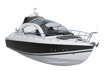 Modern motorboat, 3D rendering isolated on white background Фото со стока