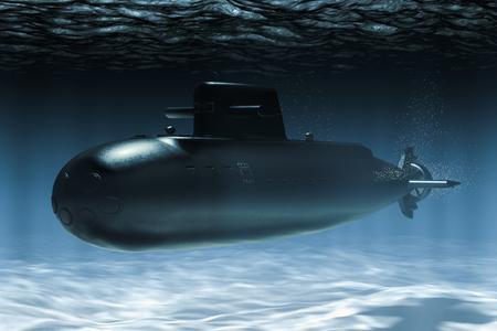 Submarine underwater, 3D rendering