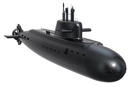 Sous-marin, rendu 3D isolé sur fond blanc
