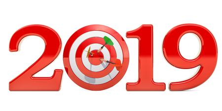 Target and mission of 2019 New Year concept, 3D rendering Stock Photo