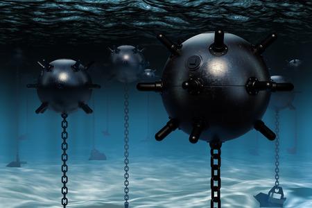 Underwater mines, naval mines. 3D rendering Stok Fotoğraf