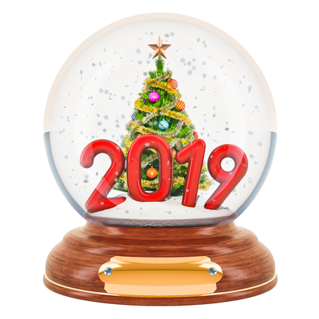 Christmas snow globe 2019 with Christmas tree inside, 3D rendering isolated on white background Stock Photo
