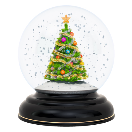 Christmas snow globe with Christmas tree, 3D rendering isolated on white background