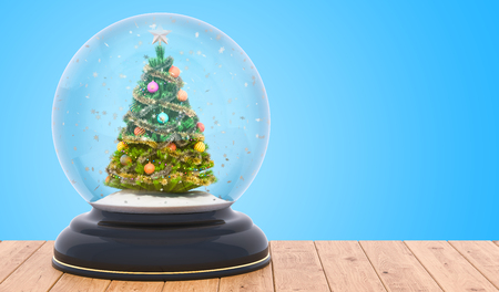 Christmas snow globe with Christmas tree inside on the wooden table, 3D rendering