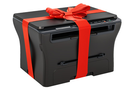 Multifunction printer MFP with ribbon and bow, gift concept. 3D rendering isolated on white background