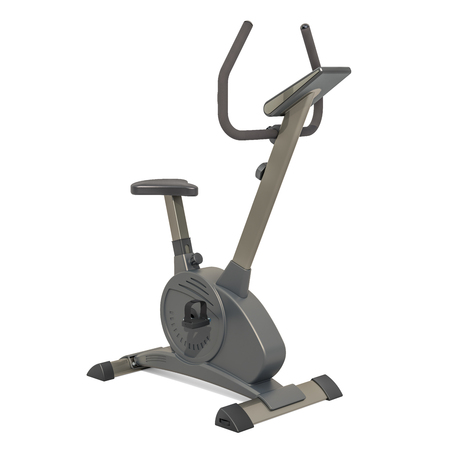 Stationary exercise bike, 3D rendering isolated on white background