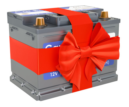 Car battery with bow and ribbon, gift concept. 3D rendering isolated on white background
