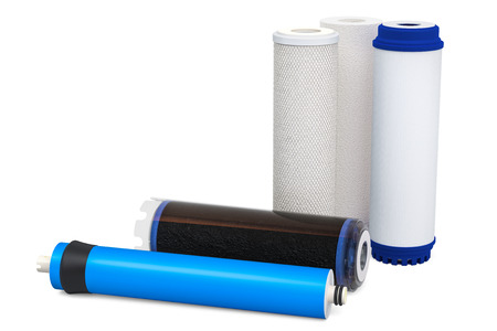 Water filters, carbon filters. Cartridge membrane for water filtration RO (reverse osmosis) isolated on white background