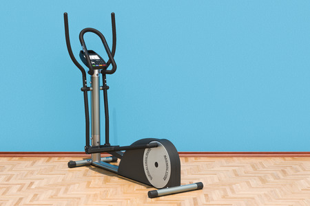 Elliptical trainer in room on the wooden floor, 3D rendering