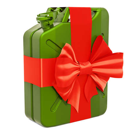 Gift concept. Jerrycan with bow and ribbon, 3D rendering isolated on white background Banco de Imagens