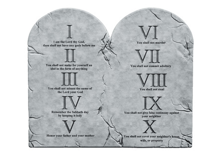 The Ten Commandments, 3D rendering isolated on white background
