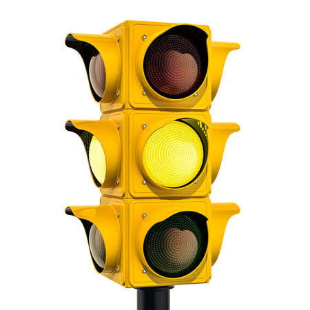 Yellow traffic light with yellow color, 3D rendering isolated on white background