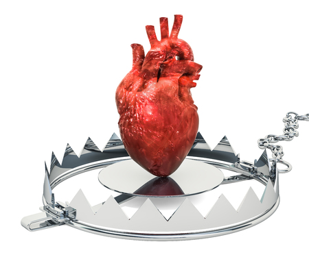 Heart Pain concept. Human heart inside bear trap. 3D rendering isolated on white background