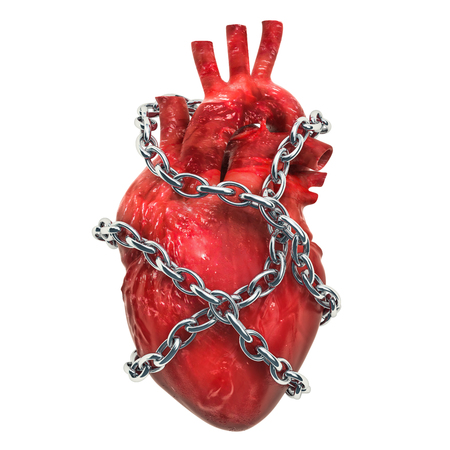 Heart Pain concept. Human heart with chain. 3D rendering isolated on white background Stock Photo