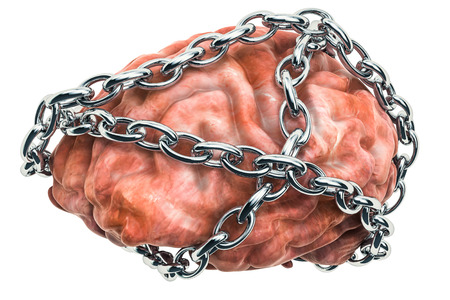 Human brain with chain. 3D rendering isolated on white background isolated on white background