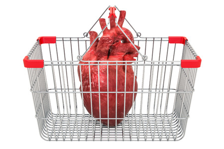 Human heart in shopping basket, 3D rendering isolated on white background