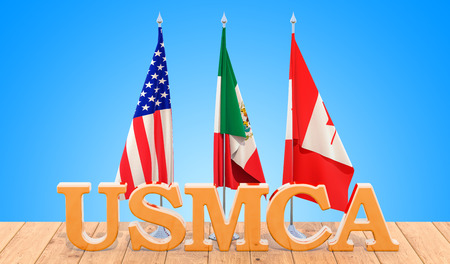 United States Mexico Canada Agreement, USMCA concept on the wooden table. 3D rendering 版權商用圖片